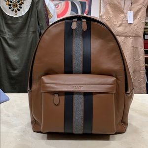 NWT COACH MEN'S LEATHER CHARLIE VARSITY BACKPACK